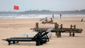 Empty sunbathing chairs are seen on a beach near hotels in a tourist area in Bentota, Sri Lanka(Reuters Photo)