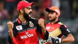 Bengaluru: RCB Skipper Virat Kohli celebrates the wicket of SRH batsman Manish Pandey.(PTI)