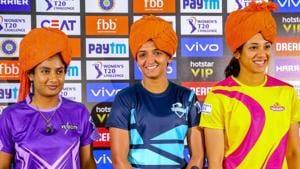 Jaipur: Velocity team captain Mithali Raj , Supernovas team captain Harmanpreet Kaur and Trailblazers team captain Smriti Mandhana address media personnel, ahead of the Women T20 Challenge matches, in Jaipur, Saturday, May 4, 2019.(PTI)(PTI5_4_2019_000221B)(PTI)