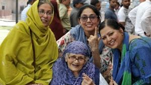 The state capital put up an average show in polling yet again with the voting percentage touching 54.29, just 1.35% more than the 2014 Lok Sabha elections when it was at a low of 52.94%. [Photo by Dheeraj Dhawan/Hindustan Times]