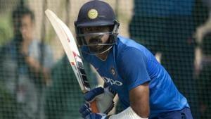 India's Vijay Shankar bats during a practice session.(AP)
