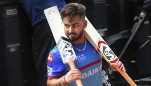 Visakhapatnam: DC batsman Rishabh Pant during a training session ahead of the Indian Premier League 2019 (IPL T20) eliminator cricket match between Delhi Capitals (DC) and Sunrisers Hyderabad(PTI)