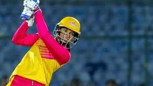 Jaipur: Trailblazers captain Smriti Mandhana bats during the VIVO Women T20 Challenge match against Supernovas, at SMS Stadium, in Jaipur, Monday, May 6,2019.(PTI)