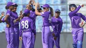 Velocity players celebrate the dismissal of a Trailblazers' batsman during the Women's T20 Challenge 2019.(PTI)