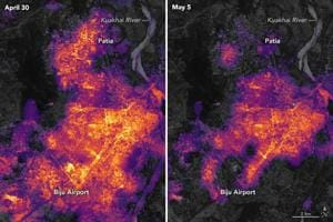 The images show city lighting on April 30 (before cyclone Fani) and on May 5, 2019, two days after Fani made landfall.(NASA Earth/Twitter)