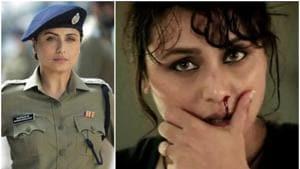 Rani Mukerji in a still from Mardaani (right) and in the first look of Mardaani 2.
