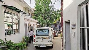 The cash van that was allegedly targeted in south Delhi's Pul Prahladpur on Friday.