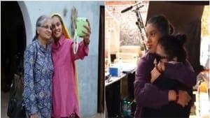Taapsee Pannu and Bhumi Pednekar with their mothers on Saand Ki Aankh sets.