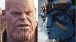 Thanos in a still from Avengers: Infinity War, and Jake Sully from Avatar.