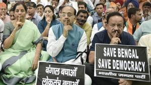 BJP stages silent protests at Jantar Mantar to condemn Kolkata violence(Sanchit Khanna/HT Photo)