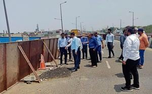 The team was accompanied by senior NHAI officials, who briefed the experts on the status of the damaged surface and what measures had been taken after a similar incident was reported last year on April 23.(Ht Photo)