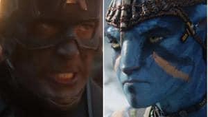 Chris Evans as Captain America in a still from Avengers Endgame, and Sam Worthington as Jake Sully in Avatar.
