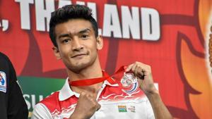 India's Shiva Thapa (60kg) poses for photos after securing a bronze medal at Asian Wrestling Championships 2019, in Bangkok, Thailand, Friday, April 26, 2019.(PTI)