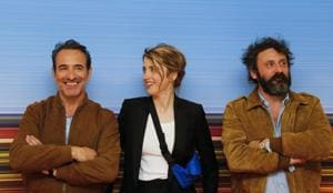 Director Quentin Dupieux and cast members Jean Dujardin and Adele Haenel pose during a photocall before the screening of the film Le Daim (Deerskin).(REUTERS)