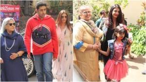 Jaya Bachchan, Abhishek Bachchan, Shweta Bachchan Nanda, Brindya Rai, Aishwarya Rai Bachchan and Aaradhya Bachchan at Shiamak Davar's dance event in Mumbai.(Varinder Chawla)