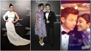 Kangana Ranaut, Priyanka Chopra and Nick Jonas at Chopard party in Cannes.(Instagram/AP)
