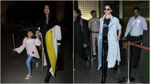 Aishwarya Rai, daughter Aaradhya and Deepika Padukone were spotted at the Mumbai airport.
