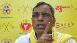 Chief minister Yogi Adityanath on Monday sacked Suheldev Bharatiya Samaj Party (SBSP) chief Om Prakash Rajbhar from his Cabinet(PTI)