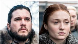 Kit Harington as Jon Snow, Sophie Turner as Sansa Stark in stills from Game of Thrones.