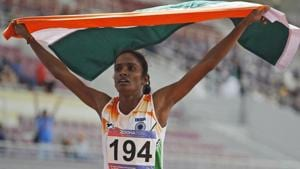 India's Gomathi Marimuthu celebrates after winning gold in the women's 800-meters final race.(AP)