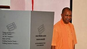 UP chief minister Yogi Adityanath after casting his vote in Gorakhpur during the seventh phase of Lok Sabha election on May 19 .(ANI File Photo)