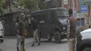 Two militants belonging to the Hizbul Mujahideen were killed by security forces after a gun battle in Jammu and Kashmir's Kulgam(ANI/Twitter)
