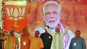 Prime Minsiter Narendra Modi during BJP workers meet programme in Varanasi(ANI)