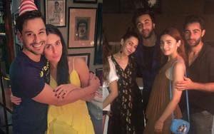 Soha Ali Khan with Kareena Kapoor and Ranbir Kapoor and Alia Bhatt at Kunal Kemmu's birthday bash.(Instagram)