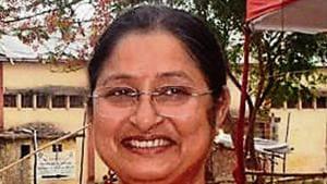 BJP candidate Annapurna Devi after winning Koderma Lok Sabha seat in Koderma,(Bijay/ Hindustan Times)