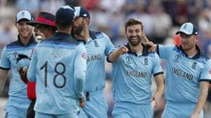England's Mark Wood, second right celebrates after taking the wicket of Australia's captain Aaron Finch during the Cricket World Cup warm up match between England and Australia at the Rose Bowl in Southampton, England, Saturday, May 25, 2019.(AP)