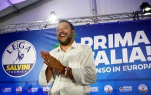 Deputy Prime Minister and League party leader Matteo Salvini reacts after a news conference at the League party headquarters, following the results of the European Parliament elections(REUTERS)