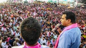The TRS, which expected to win 16 out of 17 Lok Sabha seats in the state and play the role of kingmaker in Delhi in the event of a hung parliament, won nine seats.(PTI)