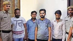 The suspects in police custody on Tuesday.(Yogendra Kumar/HT PHOTO)