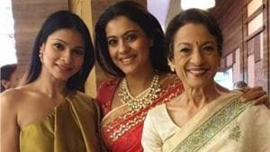 Actor Tanuja with her daughters, Kajol and Tanisha.