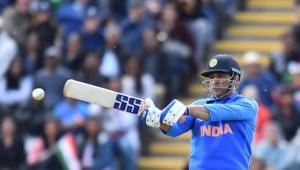 India's Mahendra Singh Dhoni misses the ball as he bats during the 2019 Cricket World Cup warm up match between Bangladesh v India at Sophia Gardens stadium in Cardiff, south Wales, on May 28, 2019(AFP)
