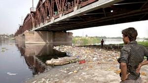 The Delhi Pollution Control Committee (DPCC) has imposed an environment compensation of Rs 5.5 lakh on the Delhi Tourism and Transportation Development Corporation Ltd (DTTDC) for choking the Yamuna's flow with debris from the Signature Bridge.(AP Photo)