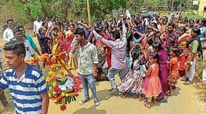 Adivasis of Nausachapada celebrate after getting NOC from Bombay Veterinary College.(HT Photo)
