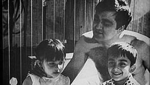 Sanjay Dutt (right) with late father Sunil Dutt and one of his sisters.(Instagram)