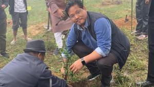 Chief Minister Conrad Sangma planting a sapling at Langkyrdem village.(HT Photo)