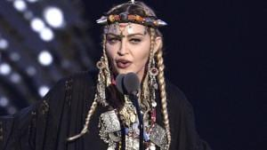 FILE - In this Aug. 20, 2018 file photo, Madonna presents a tribute to Aretha Franklin at the MTV Video Music Awards at Radio City Music Hall in New York.(Chris Pizzello/Invision/AP)