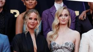 Actors Jennifer Lawrence and Sophie Turner pose during the film premiere of Dark Phoenix.(REUTERS)