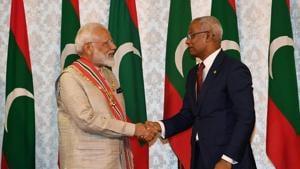 Prime Minister Narendra Modi shaking hands with Maldives' President Ibrahim Mohamed Solih in Maldive's capital Male on June 8, 2019.(Narendra Modi/Twitter)