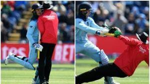 Jason Roy knocks down umpire Joel Wilson during England vs Bangladesh World Cup match(Photo collage)