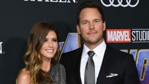 US actor Chris Pratt and US author Katherine Schwarzenegger arrive for the World premiere of Marvel Studios' Avengers: Endgame at the Los Angeles Convention Center on April 22, 2019 in Los Angeles.(AFP)