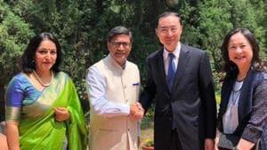 Vikram Misri, India's envoy Beijing, career diplomat Sun Weidong on his appointment China's ambassador to India on Wednesday.(Vikram Misri/Twitter)