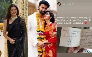 Sushmita Sen sent a handwritten note to brother Rajeev Sen and sister-in-law Charu Asopa on his wedding.