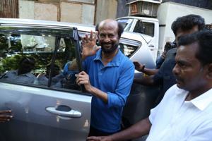 Rajinikanth seen at Mumbai's Bandra, on April 22, 2019.(IANS)