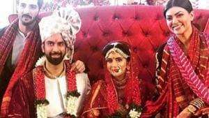 Sushmita Sen, boyfriend Rohman Shawl pose with newlyweds Rajeev Sen and Charu Asopa.