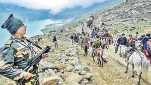 The additional companies of security forces that were deployed for the April-May national polls in Kashmir have been retained for the Amarnath yatra that will begin on July 1.(PTI File)