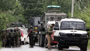 Army personnel cordon off the area after an IED blast in Pulwama on Monday.(ANI)